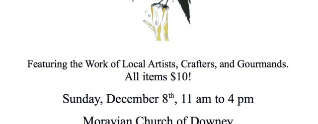 What if a holiday boutique, hosted by some of the most talented local artisans and craftspeople, had everything on sale for $10?  That's the idea behind the first annual Artisan Market $10 Holiday Gift Sale, happening Sunday December 8th at the Moravian Church of Downey.  This is collaboration of curator Roy Anthony Shabla, fused glass […]