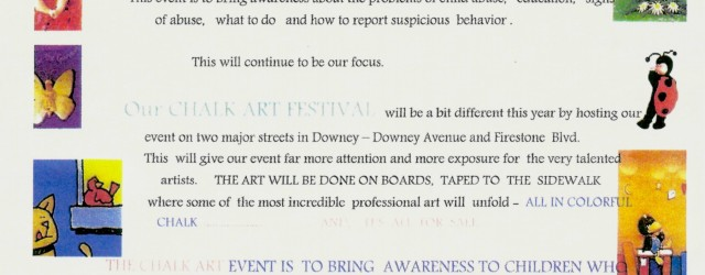 From Shirley Johnson: Saturday April 5th, at 9:00AM, this is the date: Walk the Talk Against Child Abuse & Neglect will be hosting our 2nd annual Chalk Art Festival.  This event is to bring awareness about the problems of child abuse, education, signs of abuse, what to do and how to report suspicious behavior. This […]