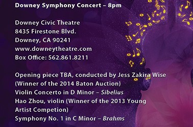 """April 11 – """"Romantic Gems"""" Downey Symphony concert & Rebirth art exhibit  Downey Symphony Orchestra closes their season on Saturday, April 11, with """"Romantic Gems."""" The program will include pieces by Johannes Brahms, and the violin concerto of Jean Sibelius, as performed by the winner of the 2013 Downey Symphony Young Artist Competition, 18-year-old […]"""