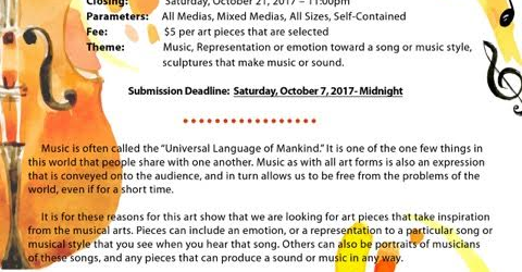 "Downey Arts Coalition is once again sponsoring a group art show with the Downey Symphony Orchestra for their fall concert on October 21.  The theme is ""Music: The Art of Sound."" We are seeking submissions for all medias and mixed medias, self-contained, all sizes. Selected artists will be featured in the Symphony concert program, with […]"